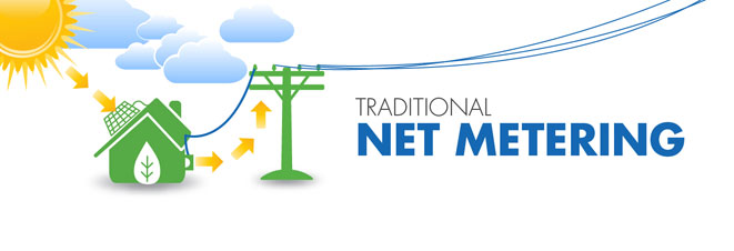 """Traditional Net Metering"" Graphic"
