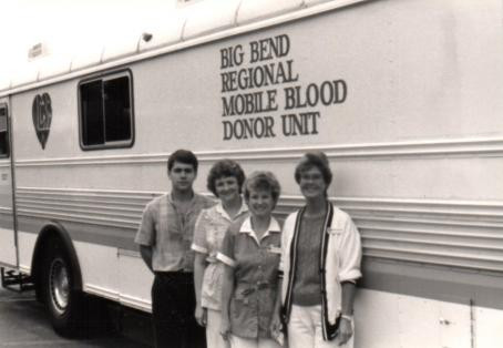 Black and white photo of TCEC employees at blood drive