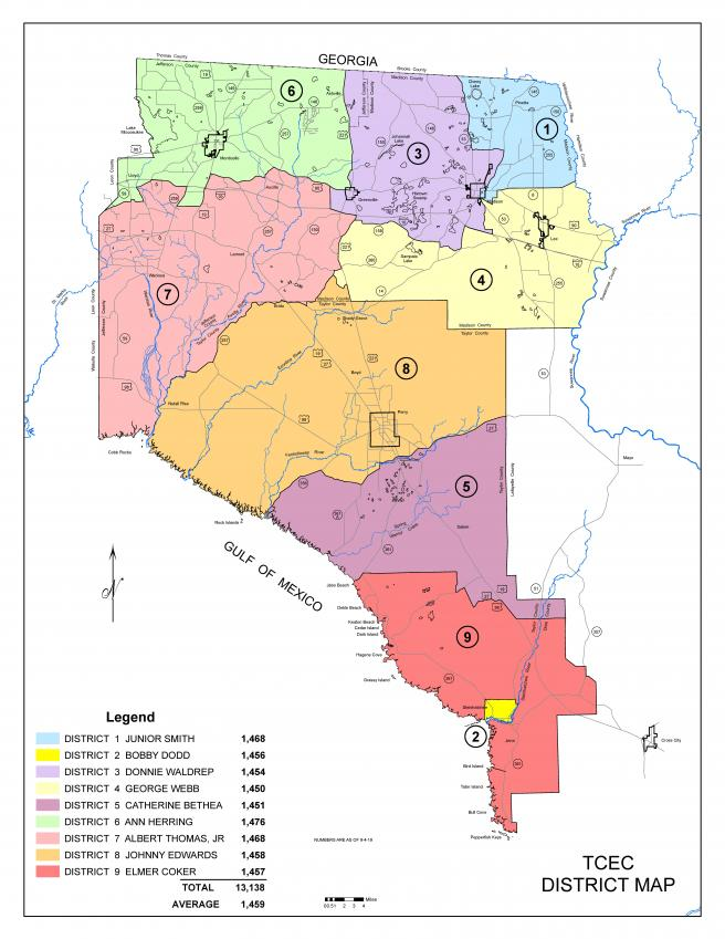 Map of the geographical areas of the nine districts powered by Tri-County Electric Cooperative.