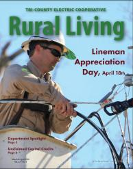 Cover image of May June TCEC newsletter - Lineman working on power lines
